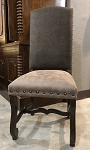 Clearance- Gray and Tan Side Chair with Dark Walnut Legs