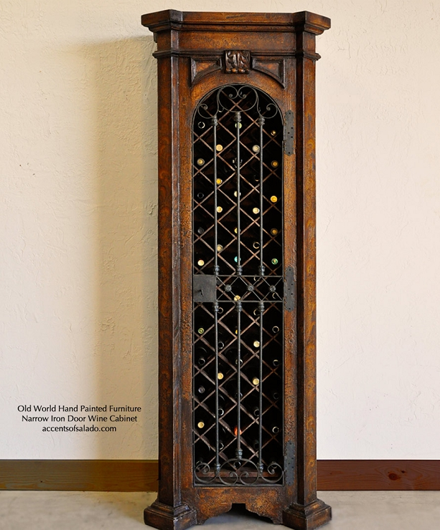 Special Order - Narrow Iron Door Cabinet - Torched Brown Finish - Bottom Wine /Top Shelves
