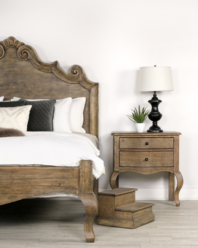 Driftwood King Curved Bed - Solid Wood