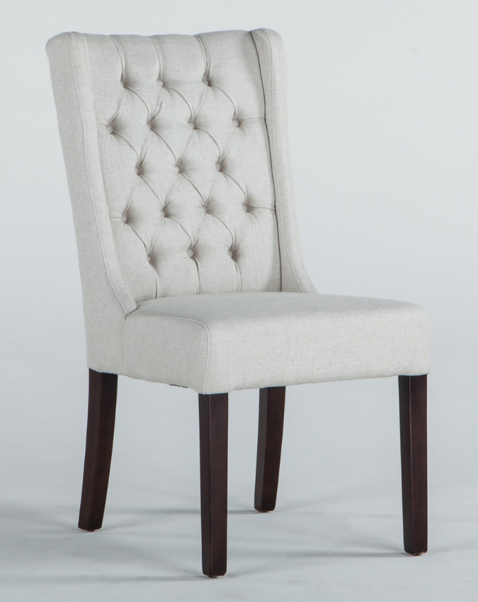 Off White Linen Tufted Dining Chair
