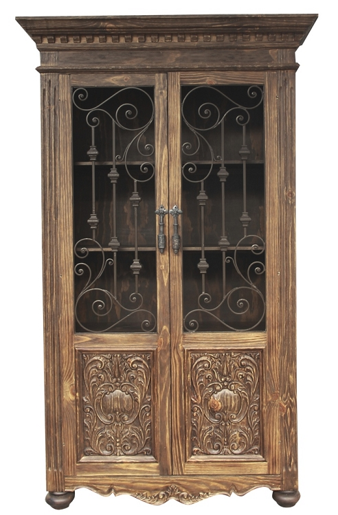 Old World Hand Carved Armoire W/ Wrought Iron in Natural Wire Brushed Stain Finish