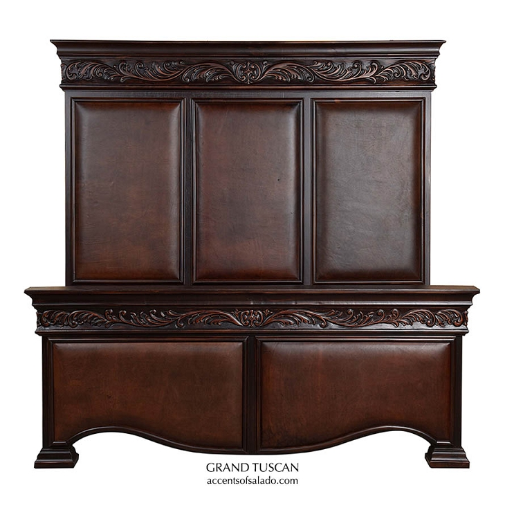 Grand Tuscan King Size Bed W/ Leather