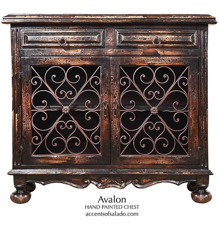Avalon Old World Hand Painted Chest  with Iron - 78263