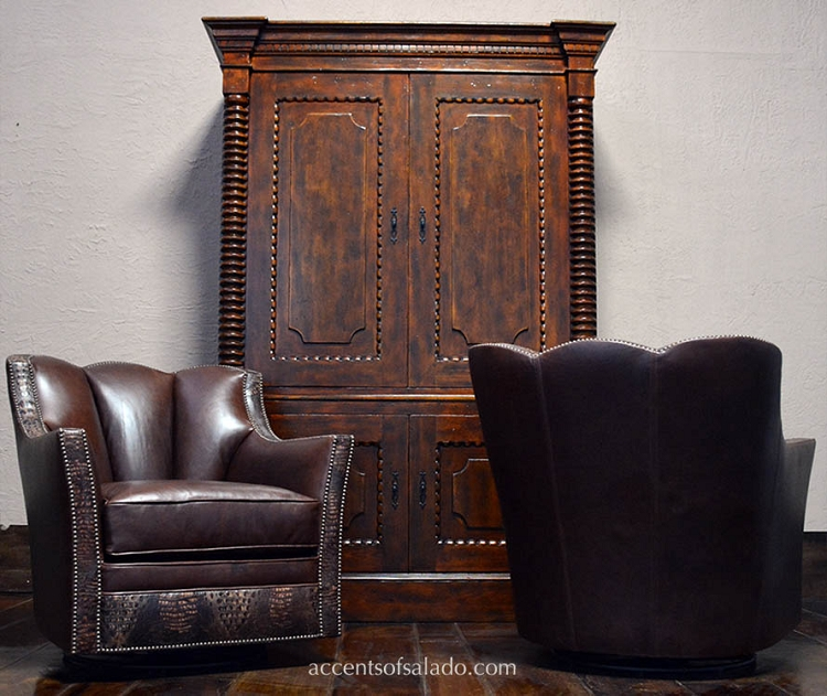 Concha Leather Accent Chair - Coffee Bean - Special Order No Swivel w/ Feet