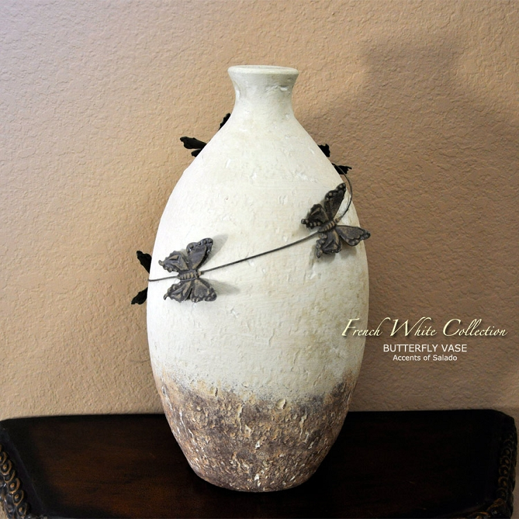 French White Butterfly Vase