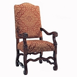 Rust Medallion Arm Chair - All Fabric