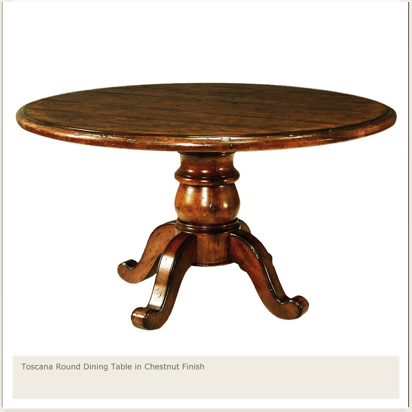 Toscana 60 round dining table chesnut finish for 60 round dining table