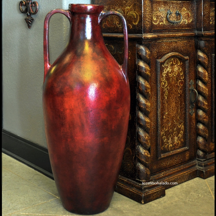 Greco Red Tall Floor Vase