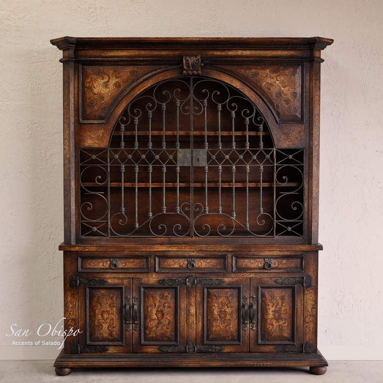 Obispo Wide Gated Hutch - Torched Brown Finish