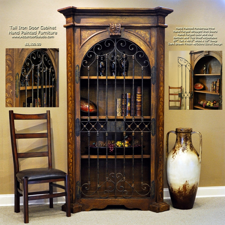 Tall Iron Door Cabinet - Torched Brown