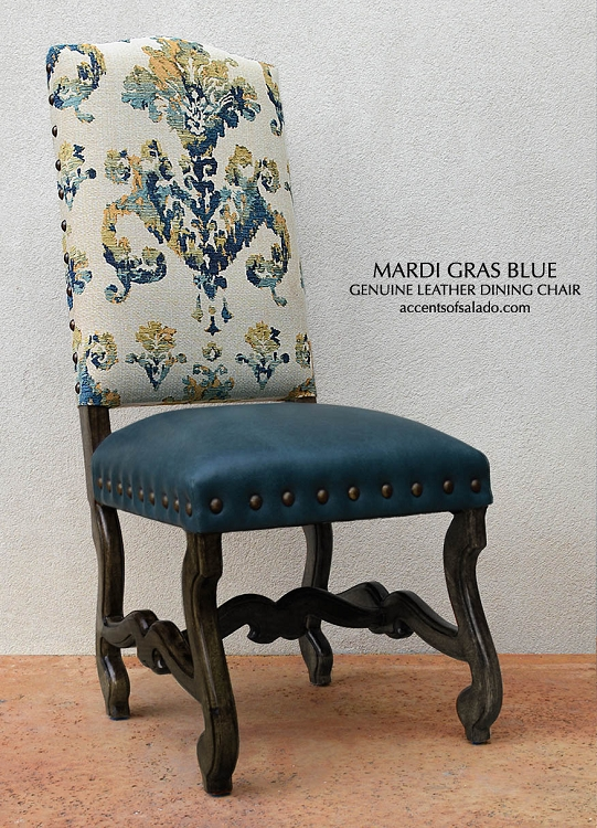 Mardi Gras Blue Dining Chairs with Stargo Azure leather/Mahogany Legs as shown on showroom floor.