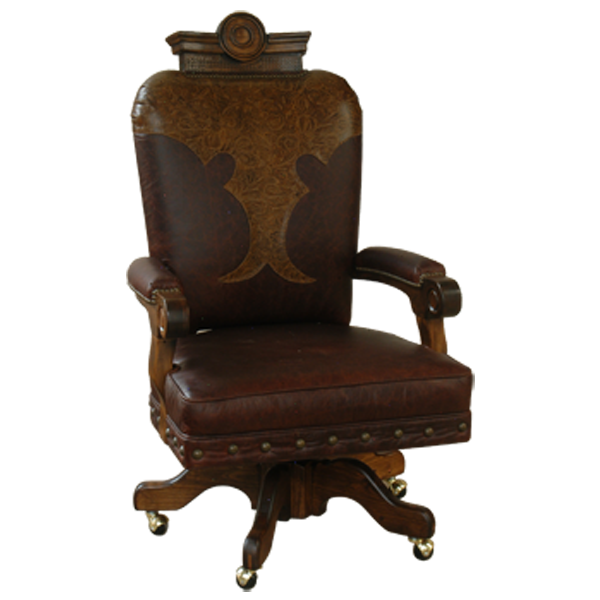 Casa Grande Hand-Carved Wood Trimmed Custom Emblem Executive Office Chair - Custom Wine and Saddle Leather