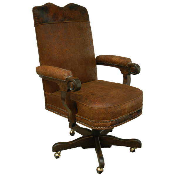 Casa Grande Hand-Carved Wood Trimmed Executive Office Chair - Genuine Leather/Embossed/Cowhide Styles (COPY)