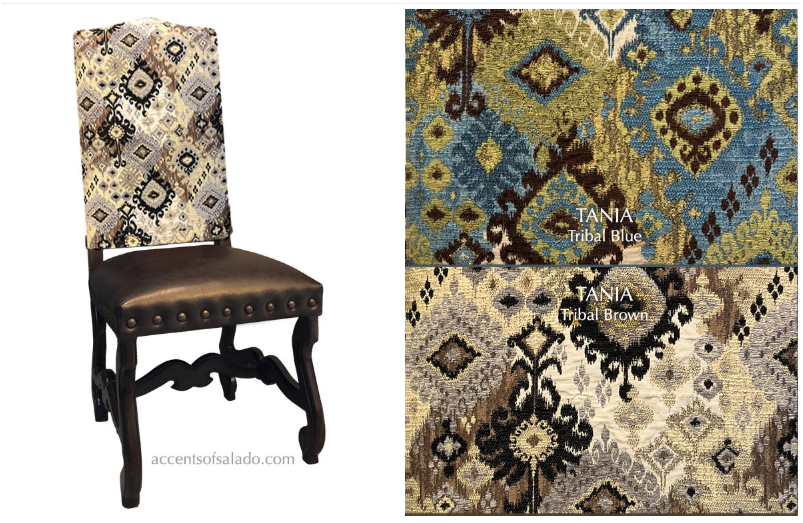 Clearance- Tania Tribal Blue Side Chair- Order 33181