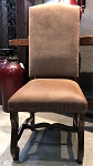 Clearance-Brown on Tan Side Chair with Dark Walnut Legs