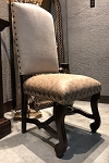 Clearance-Brown on Cream Side Chair with Dark Walnut Legs