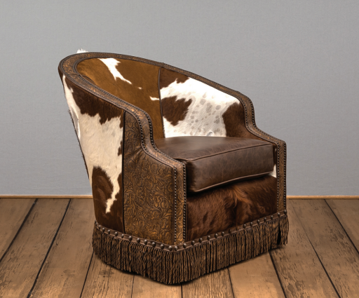 Cowhide and Tooled Leather Swivel Chairs with Fringe