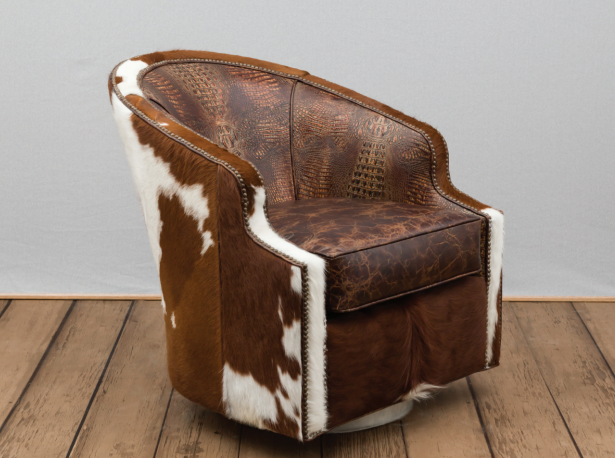 Cowhide Crocodile And Geniune Leather Swivel Chair