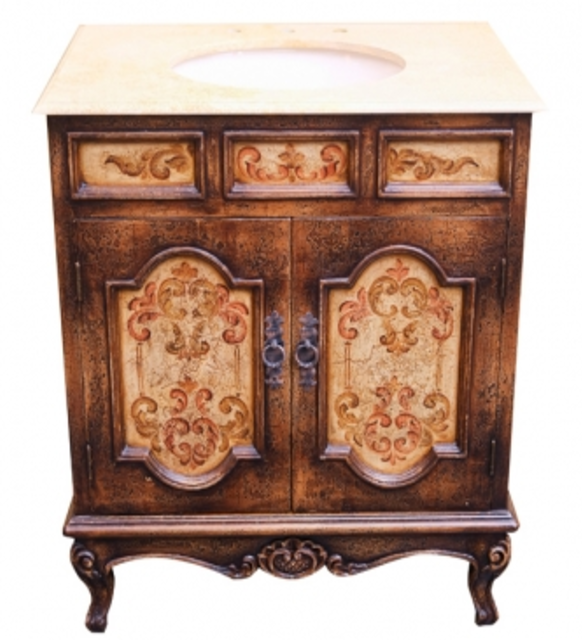 Old World Hand Painted Vanity With Marble Top