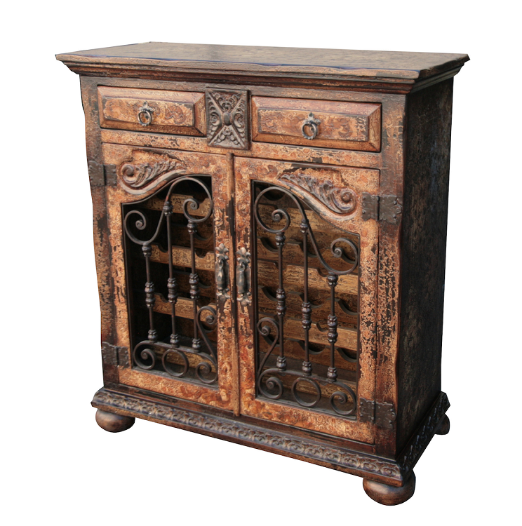 Old World Hand Painted Wine Chest With Wrought Iron Doors