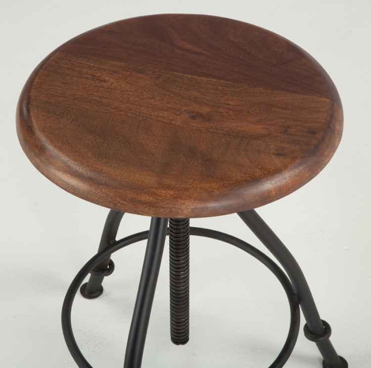 Recycled Walnut Top and Iron Stool