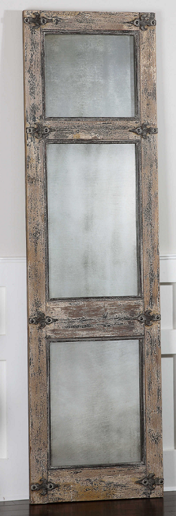 Coastal Living - Weathered Wood and Antiqued Mirrored - Floor Mirror