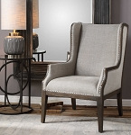 Coastal Living - High Wingback Arm Chair Taupe-Gray Fabric