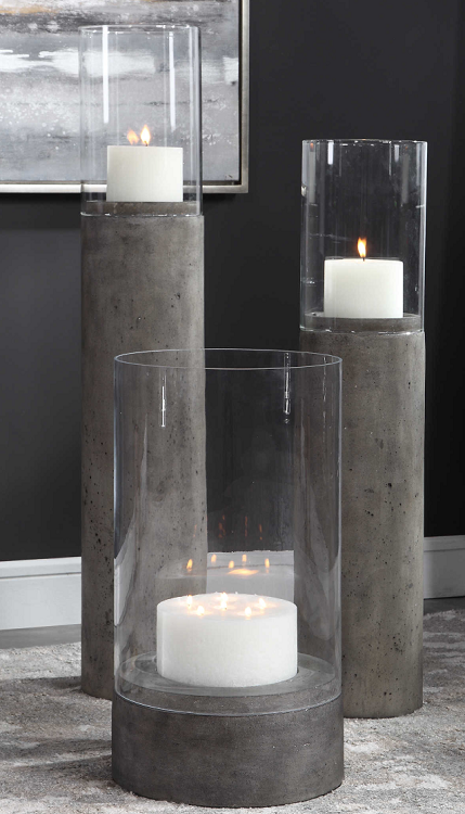 Concrete Indoor/Outdoor Oversized Candleholder Set 3