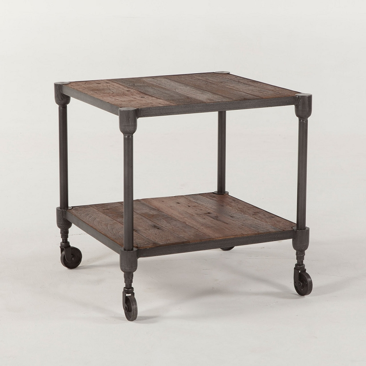 Teak and Cast Iron Side Table