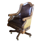 Casa Grande Hand-Carved Wood Trimmed Executive Office Chair - Genuine Leather/Embossed/Cowhide