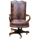 Casa Grande Hand-Carved Wood Trimmed Executive Office Chair - Genuine Leather/Embossed Crocodile or Cowhide