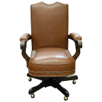 Casa Grande Hand-Carved Wood Trimmed Executive Office Chair - Genuine Leather