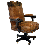 Casa Grande Hand-Carved Wood Trimmed Executive Office Chair - Old West - Custom Leather with Cowhide