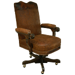 Casa Grande Hand-Carved Wood Trimmed Executive Office Chair - Genuine Leather/Embossed/Cowhide Styles