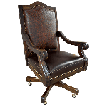 Casa Grande Hand-Carved Wood Trimmed Embossed Executive Office Chair - Custom as shown