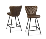 Metal and Brown Recast Leather Counter Stool