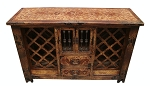 Old World Hand Painted Wine Rack Buffet/Server with iron