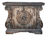 Old World Rustic Gray White Distressed Hand Painted Buffet/Server