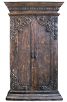 Venice Armoire/Bookcase/Media Cabinet - Torched Brown Finish