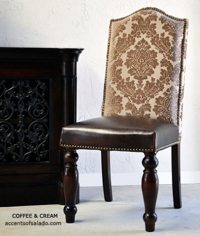 De Lucca Dark Coffee and Cream Side Chair