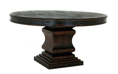 Salado Collection Rustic Plank Dining Table Round 60