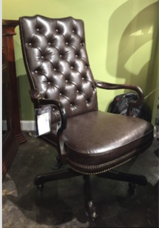 Tufted Casa Grande Office Chair  - Dark Finish with Ant Nail Heads