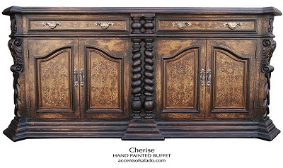 Old World Cherise Long Hand Painted Large Buffet
