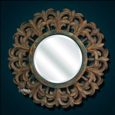 Gabriela round beveled mirror Odd shaped mirrors