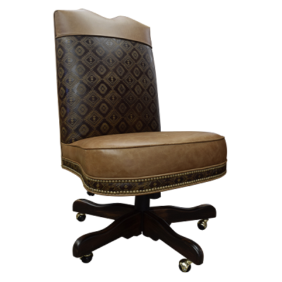 Casa Grande Hand-Carved Wood Trimmed Executive Armless Office Chair - Genuine Leather and Embossed Leather