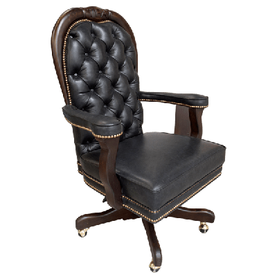 Casa Grande Hand-Carved Wood Trimmed Executive Office Chair - Genuine Tufted Leather and Cowhide