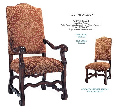 Rust Medallion All Fabric Side Chair
