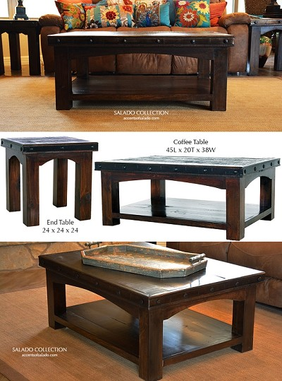 Salado Collection Plank Style Rustic Coffee Table