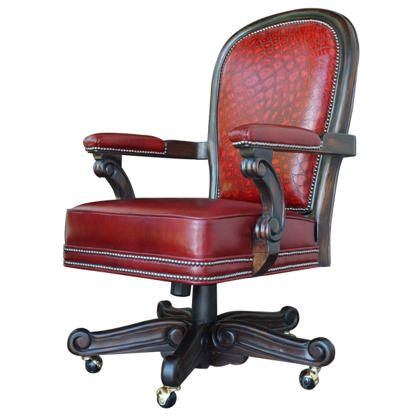 Casa Grande Hand-Carved Wood Trimmed Executive Office Chair - Custom Embossed Leathers