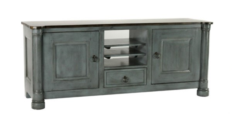 Coastal Living - Distressed Blue-Gray Finish - Media Cabinet
